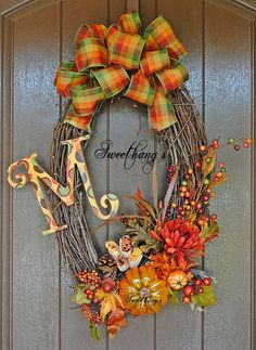 Fall Harvest Grapevine Wreath.