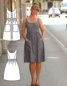 Button Down Dress Pattern - Midi Dress Pattern - Midi Dress Sewing Pattern - Midi Dress patterns - Pollyanna Pocket Dress Sewing Pattern Youll feel amazing wearing this stylish Midi Dress! Its a lovely button down dress thats perfect for so many occasions Sewing Patterns Free, Free Sewing, Pattern Sewing, Dress Sewing Patterns, Dress Patterns Women, Fashion Patterns, Skirt Patterns, Sewing Aprons, Fabric Sewing