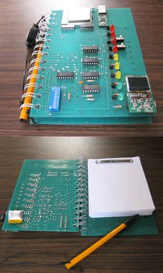I made this notebook using an old electronic circuit board and included a USB flash memory and MP3 music player.