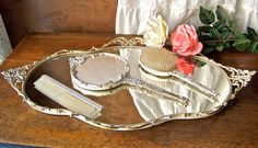 Vintage Vanity Tray with Brush Comb and Hand Mirror! Cute for dresser in spare room.