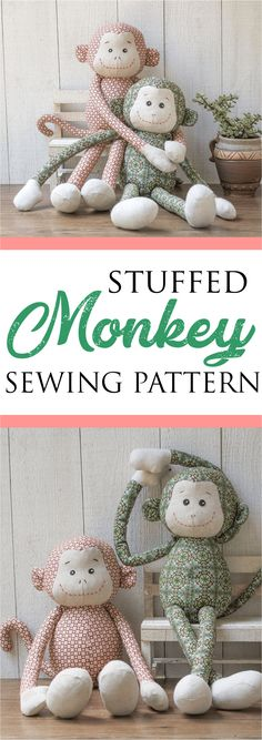 Most current Photographs Sewing projects stuffed animals Strategies DIY monkey stuffed animal etsy - Get this hugging monkey with long arms & sanp tape at the hands P Beginner Sewing Patterns, Animal Sewing Patterns, Sewing Projects For Beginners, Basic Sewing, Pattern Sewing, Free Pattern, Softie Pattern, Hand Sewing, Sewing Stuffed Animals