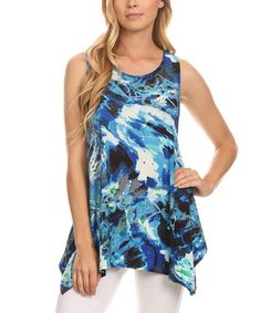 Blue & White Marble Asymmetrical Tank - Plus Too #zulily #zulilyfinds