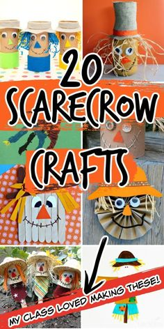 You'll love these 20 super-easy scarecrow crafts from Pint-sized Treasures that kids absolutely LOVE! They're simple, super-cute, and fun for kids! Scarecrows are perfect for fall! They're great for kids in school. Fall Crafts For Kids, Toddler Crafts, Crafts To Do, Kids Crafts, Toilet Paper Roll Crafts, Easy Paper Crafts, Autumn Activities, Activities For Kids, Scarecrow Crafts