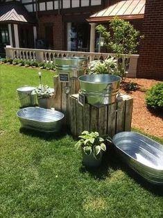 Galvanized metal display for letting your guests help themselves to a beverage.