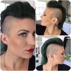 Forest green Mohawk! I did my own cut and color. Color was custom made using @pravana! #pravana #mohawk #forestgreen #greenhair #greenmohawk #shavedhead #daretobedifferent #ulta #ultasalon #ultainthestreetsofbrentwood @ultabeauty #whocuts #behindthechair #modernsalon