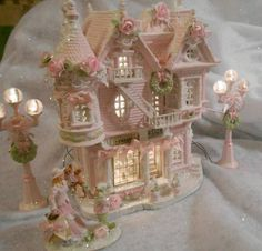 Pink Christmas village house & pink lighted lamp posts