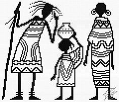 FREE PATTERNS - People - African Family - Gvello Stitch