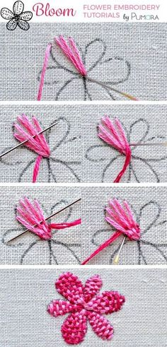 woven petal flower - flower embroidery tutorial