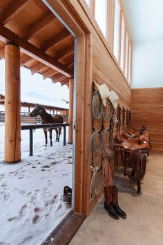 When it's beautiful inside & out! This tackroom designed by Blackburn Architects compliments the timber that covers this barn. #dreambarn #architecture #horses #snowday #equestrianarchitecture #equestrianlife #healthybarn #stablestyle Dream Stables, Dream Barn, Horse Stalls, Horse Barns, Horse Paddock, Horse Tack Rooms, Horse Barn Designs, Horse Barn Plans, Horse Ranch
