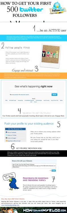 How to get your first 500 Twitter followers #infografia #infographic…