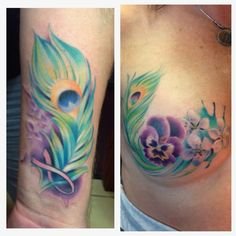 Would want similar to this for scar coverage. Peacock feather and breast cancer survivor Tattoo by Sussannah Griggs
