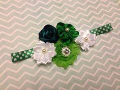 st patricks headband, green headband, shamrock headband, irish headband, chiffon headband, newborn, baby,photo prop. $12.50, via Etsy.