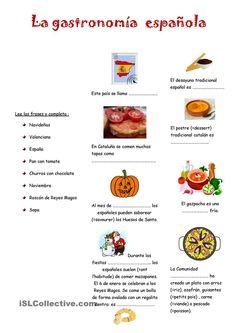 La gastronomia espanola | Gratuito ELE worksheets
