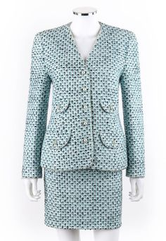 ESCADA Margaretha Ley 2 Pc Sky Blue Multicolor Tweed Jacket Skirt Suit Set Sz 38 #ESCADA #SkirtSuit