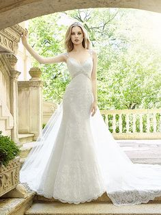 Moonlight Style H1324, this all-over lace wedding gown is perfect for the bride looking for a convertible look. The detachable wateau train comes off after the the ceremony for a night of dancing during the reception.
