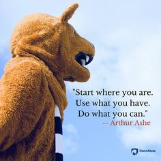 """""""Start where you are."""" Words of wisdom from Arthur Ashe. Arthur Ashe, Start Where You Are, Brighten Your Day, Encouragement, Canning, Words, Wisdom, Sky, Live"""