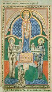 Ordre cistercien : Etienne Harding et l'abbé de St-Vaast d'Arras déposant leur abbaye aux pieds de la Vierge. - Mais st Robert avait du retourner à Molesmes à peine 1 an plus tard (1099), Albéric, puis Etienne Harding qui lui succédèrent comme abbés, définirent et organisèrent l'ordre des cisterciens.