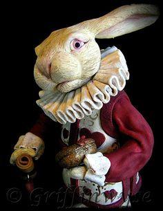 Alice in Wonderland White Rabbit Sculpture by Griffinwyse on Etsy, White Rabbit Alice In Wonderland, Alice In Wonderland Party, Lapin Art, Rabbit Sculpture, Rabbit Art, Rabbit Hole, White Rabbits, Bunny Art, Mad Hatter Tea