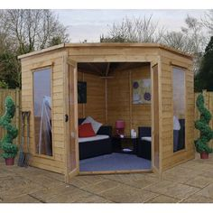 Garden Corner Summer House Home Office Tanalised Timber Cladding Heavy Duty Corner Summer House, Summer Houses, Shiplap Cladding, Corner Sheds, Apex Roof, Cabin Doors, Sheds For Sale, Cheap Sheds, Build A Table