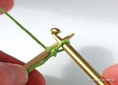 Crochet cast-on: Pull the yarn through the loop on the hook