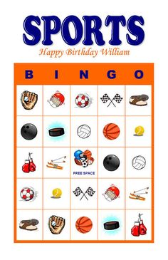 Sports Baseball Football Basketball Themed Birthday Party Bingo Cards Game Delivered by Email