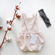 Summer pinafore romper in soft pink linnen