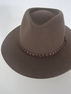 Wool Felt Safari Style Hat with Leather Braid on Etsy, $83.62
