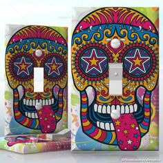 Do It Yourself Home Decor : DIY Sugar Skull Hippie, Tongue out sugar skull, 1 Gang Toggle LightSwitch decal skin wrap sticker, Skulls / Horror