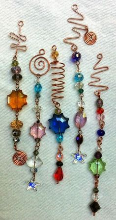 copper wire and crystal suncatchers - fabulous