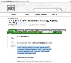 Household Use of Information Technology, Australia, 2014-15. Use of the internet allows access to a wide range of information, goods and services and is a key means of communication with other individuals, communities, businesses and governments. Students can use this information to draw information on the impact of changing communication technologies on interactions. (53 words)