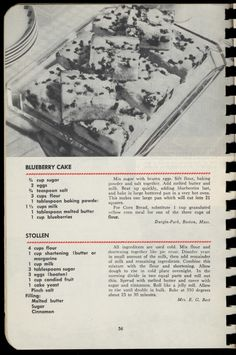 Blueberry Cake, Stollen - More Food for the Body for the Soul, 1948  http://www.amazon.com/gp/product/B000BV823U/ref=cm_sw_r_tw_myi?m=A3FJDCC1SFO8CE
