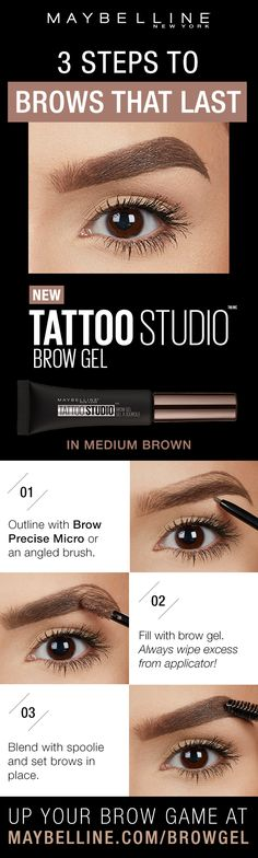 Tattoo Studio Waterproof Eyebrow Gel creates fuller-looking definition that last for days. Fill and color your eyebrows with this ultra-resistant and waterproof eyebrow gel. The sculpting tip and eyebrow spoolie brush work together to create fuller-looking eyebrows that last for days. For precise brows, outline with Brow Precise Micro pencil. Then fill with brow gel. Blend with spool to set brows in place.