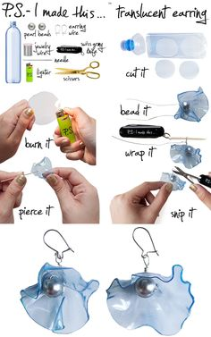 Recycled plastic bottles=  Translucent Statement Earring visual instruction~~