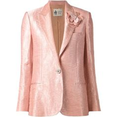 Lanvin flower detail blazer featuring polyvore, fashion, clothing, outerwear, jackets, blazers, long sleeve blazer, lanvin jacket, long sleeve jacket, pink jacket and pink blazer