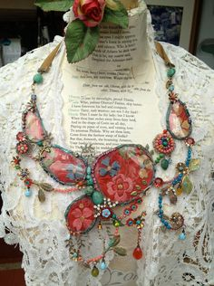 Lilygrace Showstopper Gypsy Queen Necklace with Vintage Embroidered Silk, Turquoise, Coral and Vintage Rhinestones