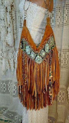 Handmade Brown Tan Suede Fringe Shoulder Bag Hippie Gypsy Boho Hobo Purse tmyers #Handmade #ShoulderBag