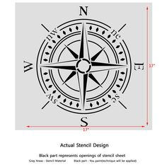 Compass bearing Stencil Large stencil for DIY by JboutiqueStencils