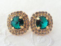 Emerald green Swarovski crystal stud earrings by EldorTinaJewelry, $49.00