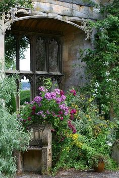 SUDELEY CASTLE GARDENS by Mijkra on Flickr.... So pretty! That mirror in the nook just magnifies it all....