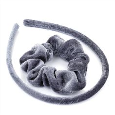 Hair Set - Grey Velvet Fabric Covered Alice Band and Scrunchie Hair Band Set >>> Find out more about the great product at the image link.