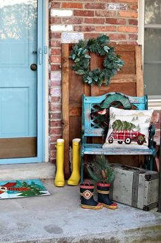 I have porch decorating ideas coming from every direction today. I used rubber boots and luggage to decorate the porch…. Decor, Christmas Decorations, Front Porch Decorating, Ladder Decor, Front Porch Christmas Decor, Recycled Items, Christmas Inspiration, Colorful Furniture, Creative Christmas