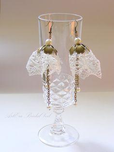 Antique lace flower earrings vintage jewelry by ArtEraBridal