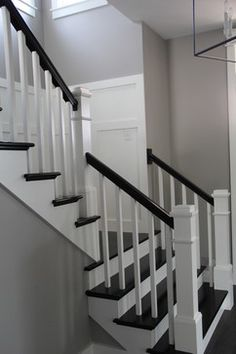 Grey and white staircase great idea for when my husband for Farmhouse stairs