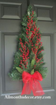 SALE Red Holly Berry Christmas Tree Pine Wreath Swag, Fall Autumn Christmas Winter, Holiday Wreath, Christmas Decorations, Pine Wreath: