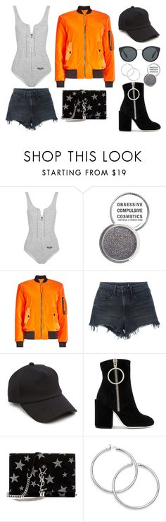 """""""Velvet Bomber Jacket & Suede Ankle Boots"""" by skyelabeaumont ❤ liked on Polyvore featuring Moschino, Alexander Wang, rag & bone, Off-White, Yves Saint Laurent and Prada"""