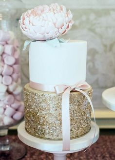 82 Subtle Blush And Gold Wedding Ideas | HappyWedd.com  Using edible gold sequins - see www.rainbowdust.co.uk or sugarcraft stores