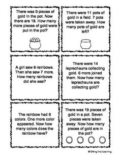 St. Patrick's Day Themed Addition and Subtraction Word Problems - Diving Into Learning - TeachersPayTeachers.com
