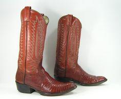 vintage cowboy boots mens 8.5 D brown by vintagecowboyboots