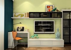 Minimalist desk and TV cabinet combo with pale green wall