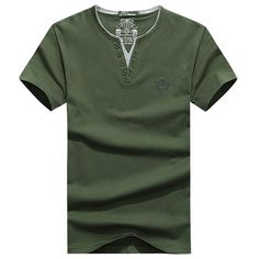 Cheap Tees and Tank Top, Buy Quality T-Shirts directly from China T-Shirts Suppliers: Casual Loose Simple Style Cotton Solid Color Short Sleeve V-Neck T-Shirt For Men Casual T Shirts, Men Casual, Mens Cotton T Shirts, Loose Shirts, Men's Shirts, Polo Shirt Outfits, Color Shorts, Herren T Shirt, V Neck T Shirt